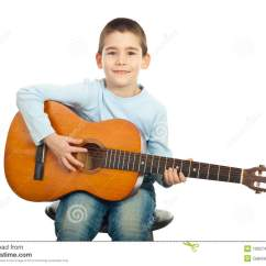 Guitar Playing Chair White Chaise Lounge Small Boy Stock Image Of Sitting