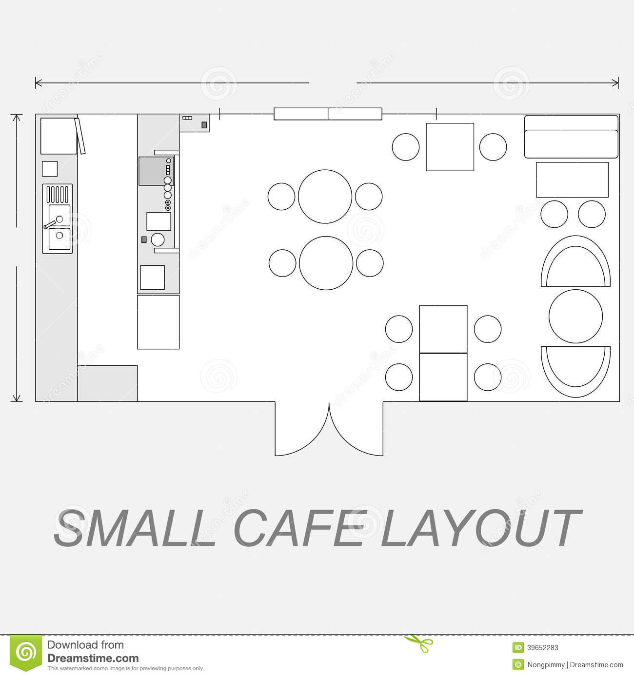 Small Cafe Layout Stock Vector Illustration Of Shop