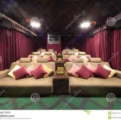 Sofa Settee Cheapest Beds Online Small Hall Of Cinema With Soft Couches Pillows Stock ...