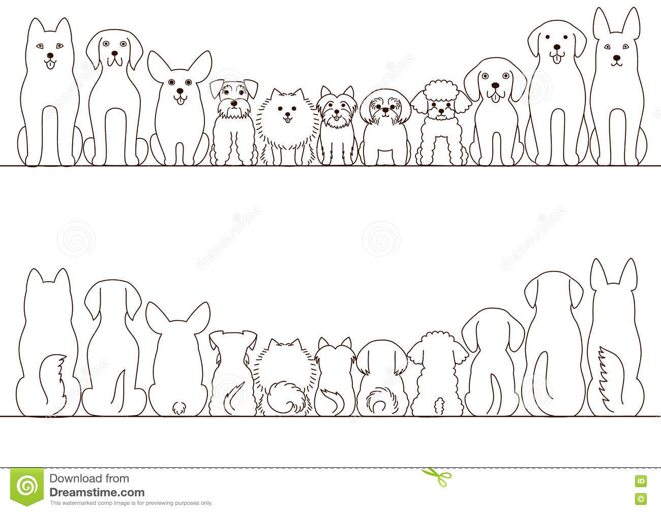 Small And Large Dogs Border Set Stock Vector