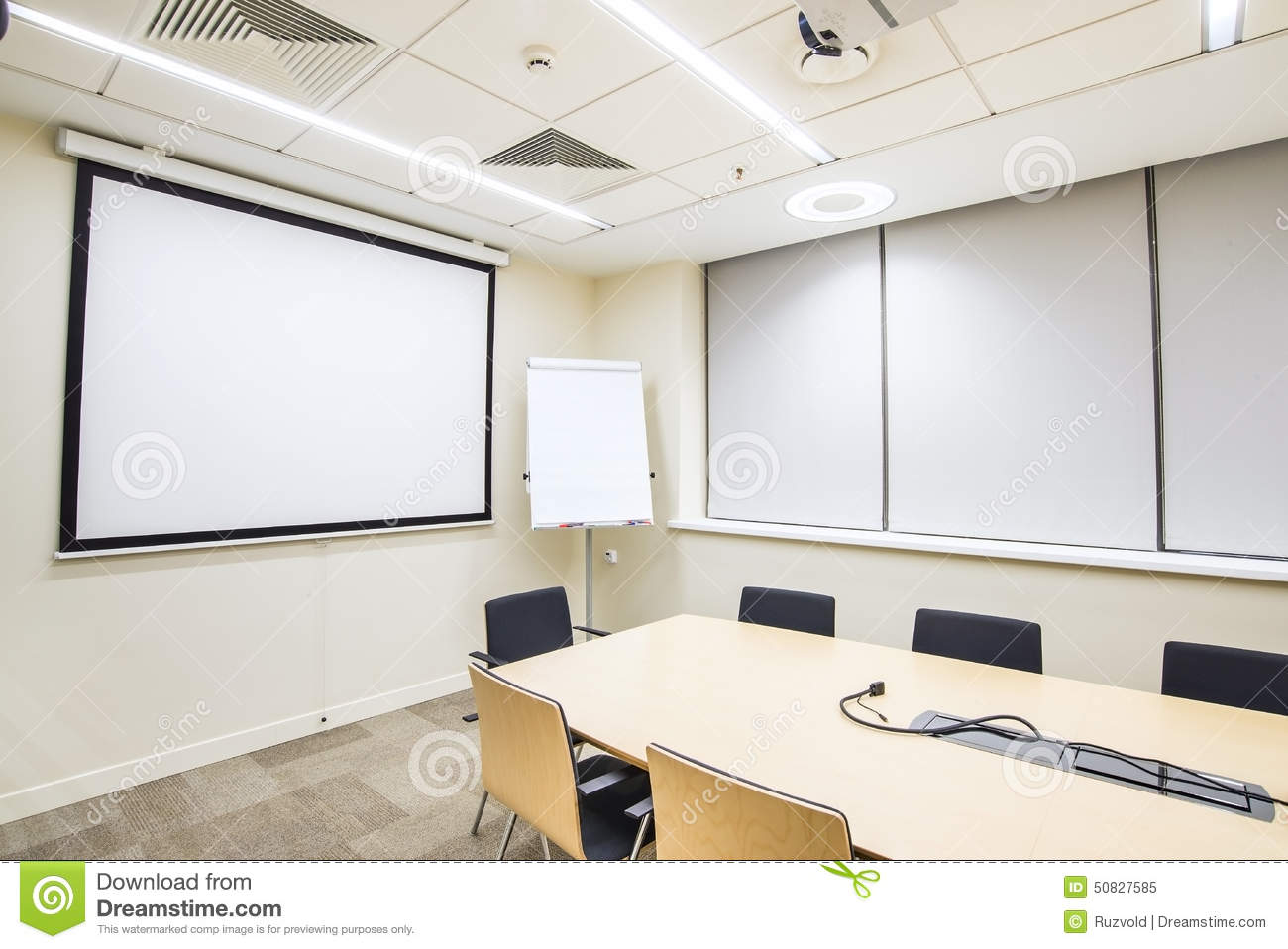 modern white desk chair argos directors covers small meeting or training room with tv projector stock photo - image: 50827585