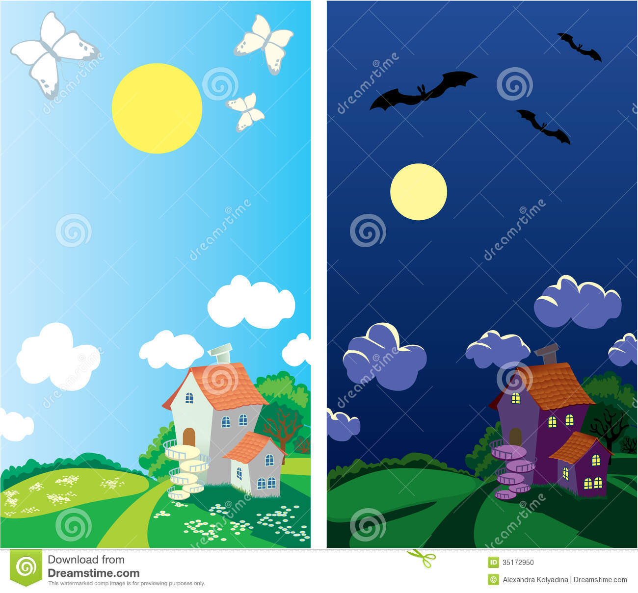 Small Rural House Day And Night Stock Photo