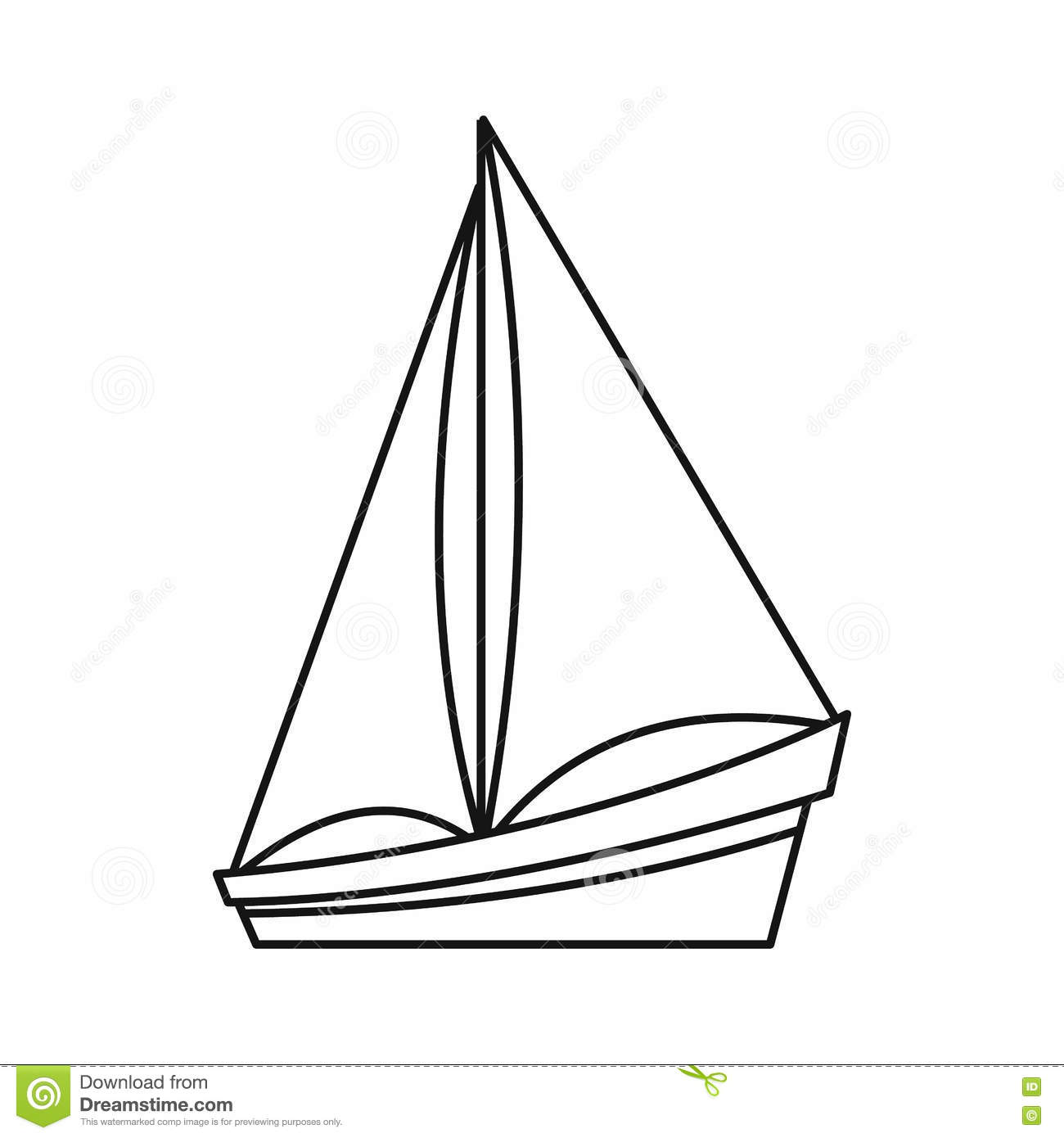 Small Yacht Icon Outline Style Stock Vector