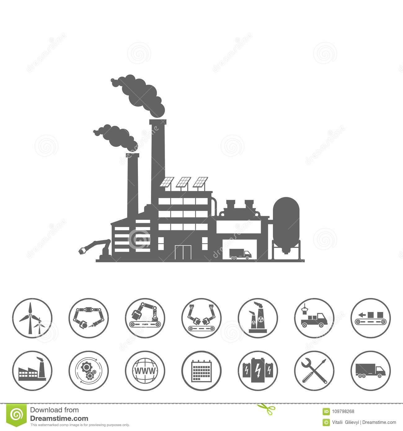Smart Factory And Icons Set. Smart Factory Or Industrial