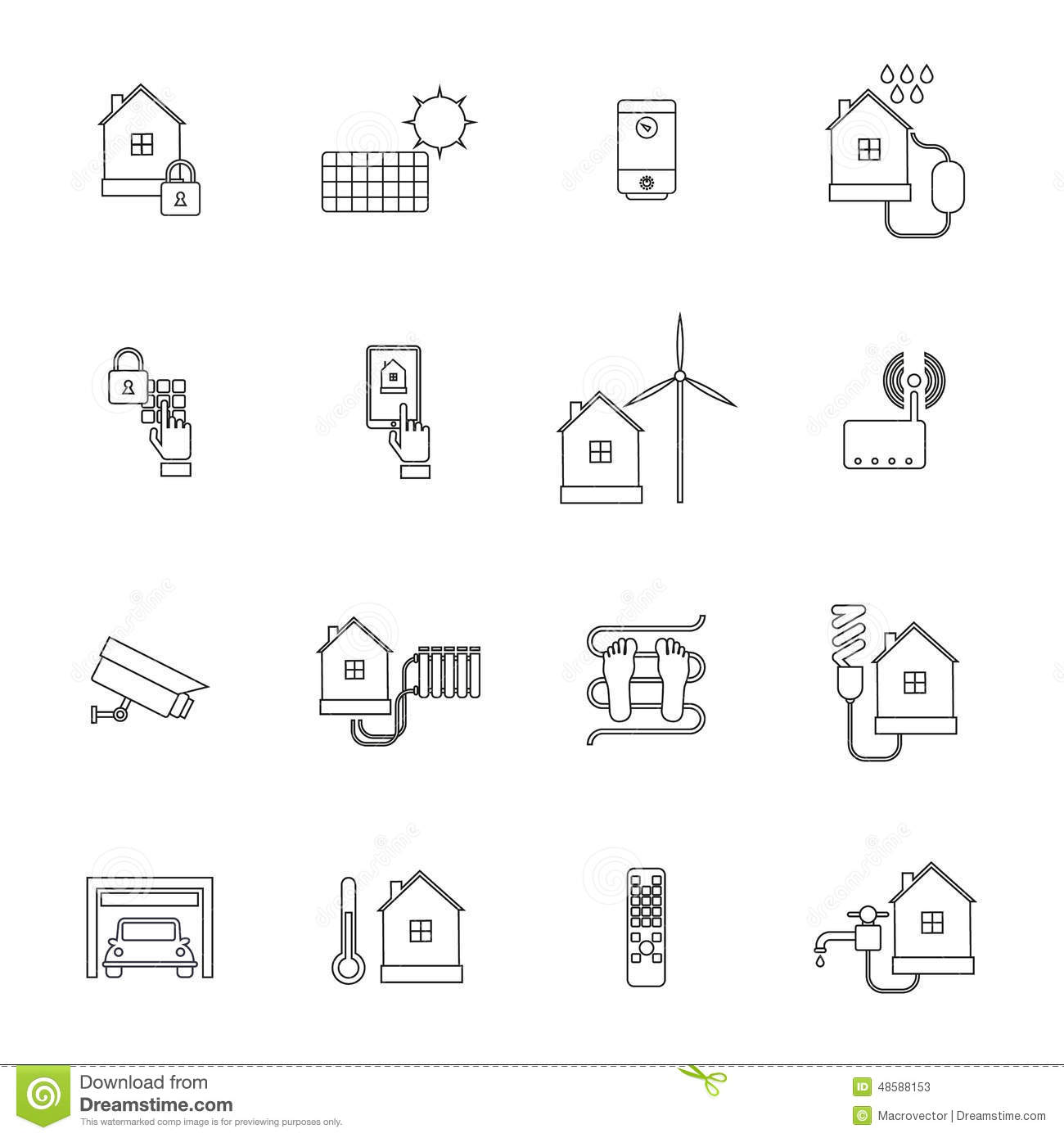 Smart Home Icon Outline stock vector. Illustration of