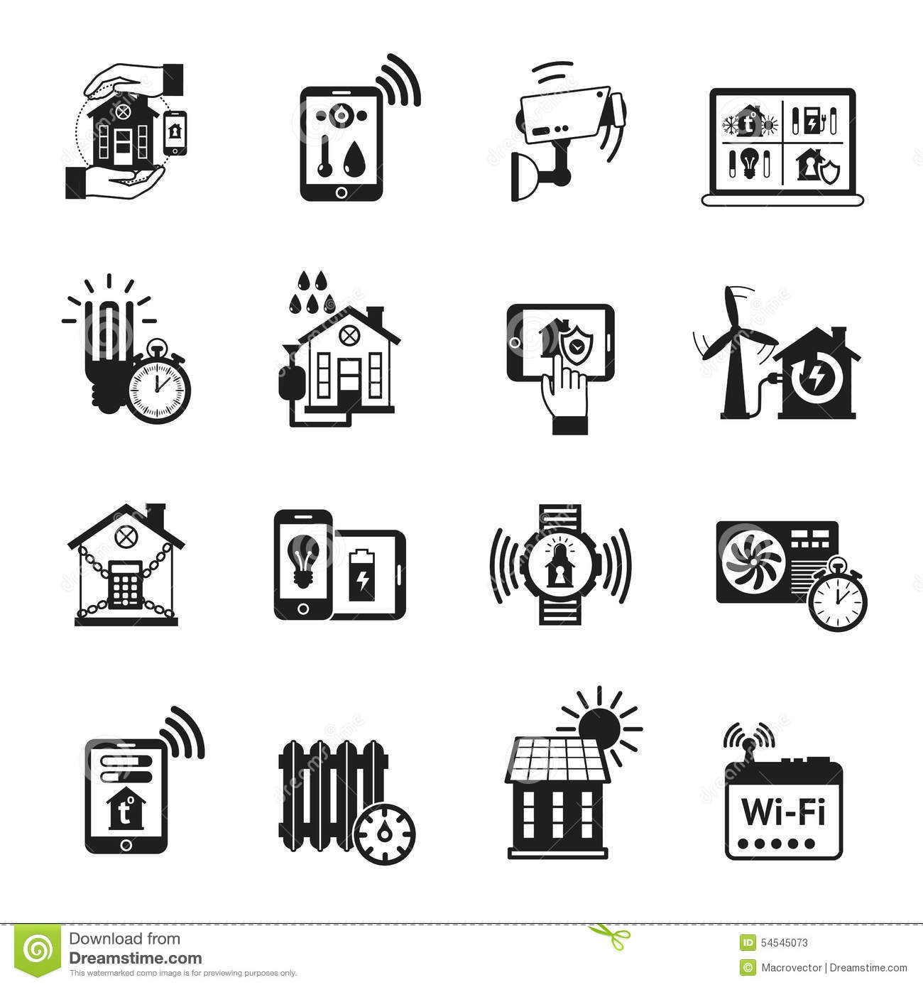 Smart House Black Icons Set Stock Vector