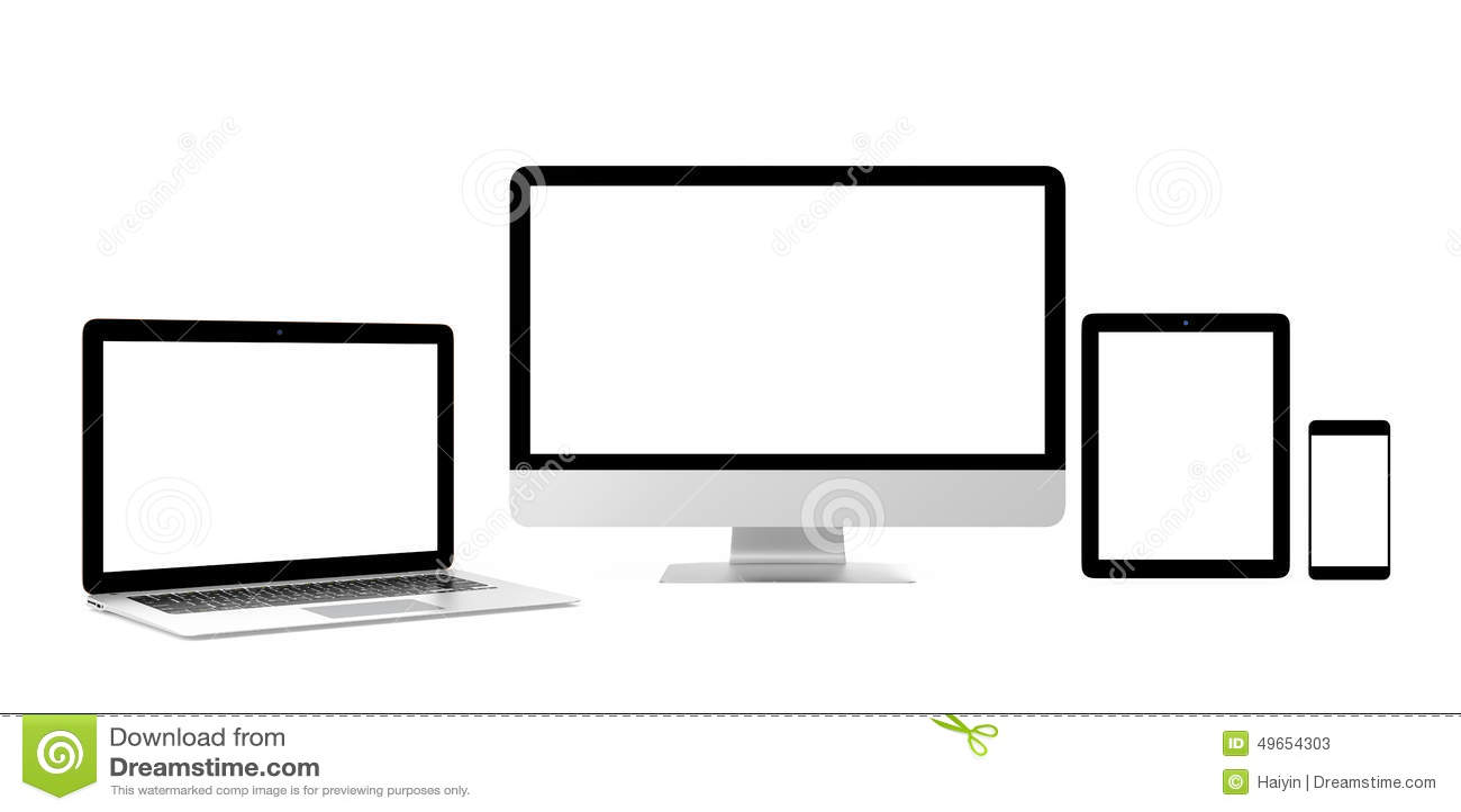 Smart Phone, Laptop, Desktop Computer With Blank Screen