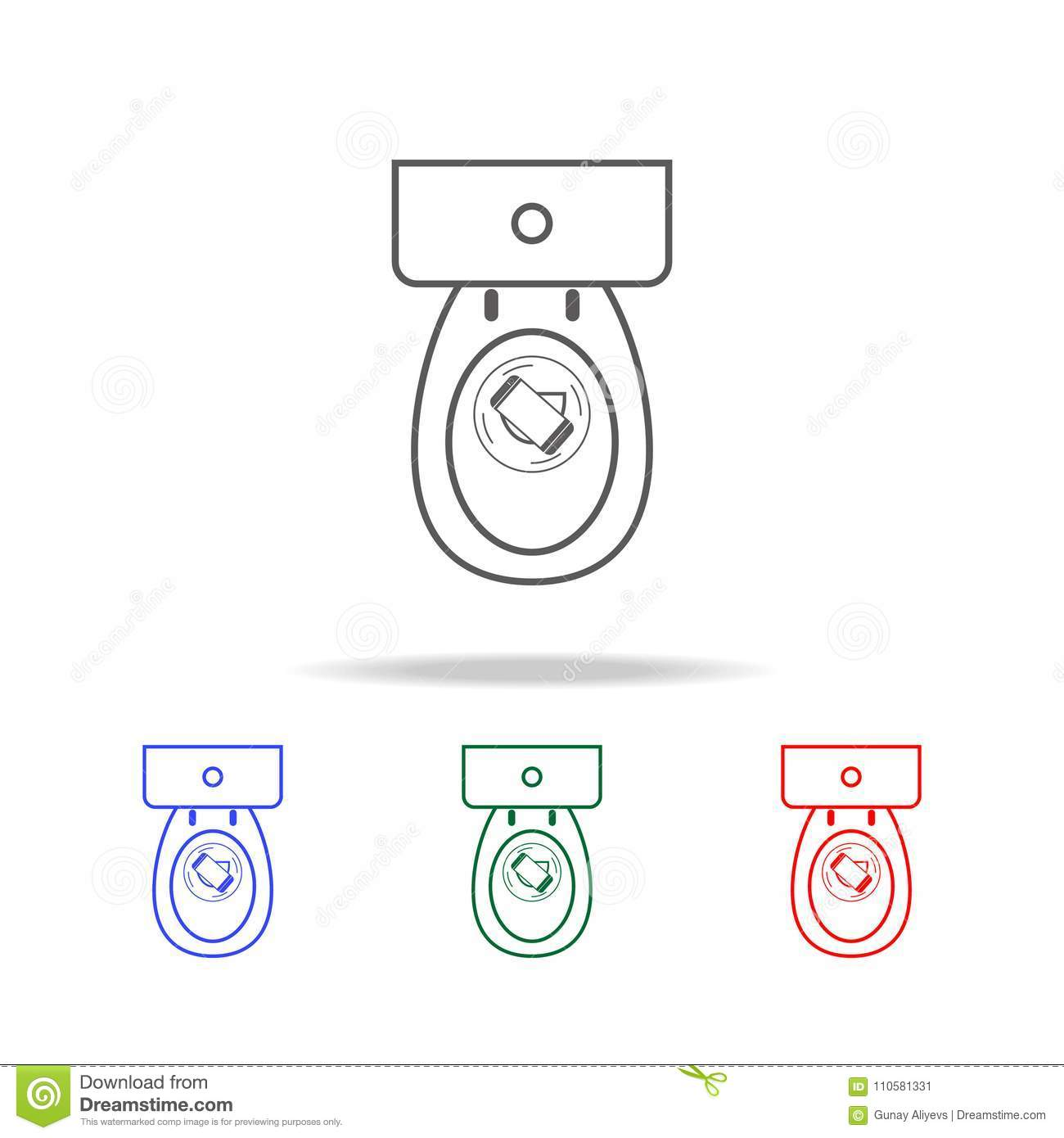 Smart Phone In The Toilet Icon. Elements In Multi Colored