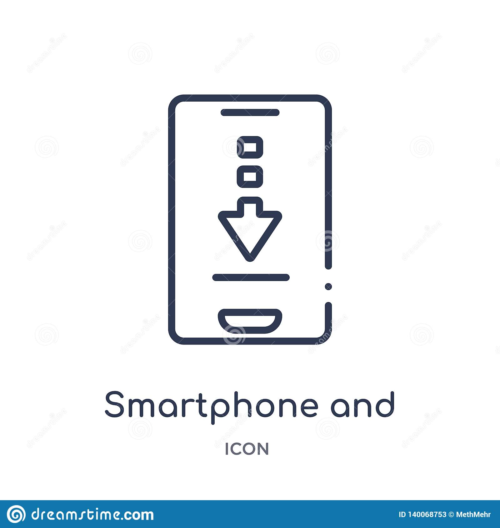 Smartphone And Download Arrow Icon From Ultimate Glyphicons Outline Collection. Thin Line Smartphone And Download Arrow Icon Stock Vector ...