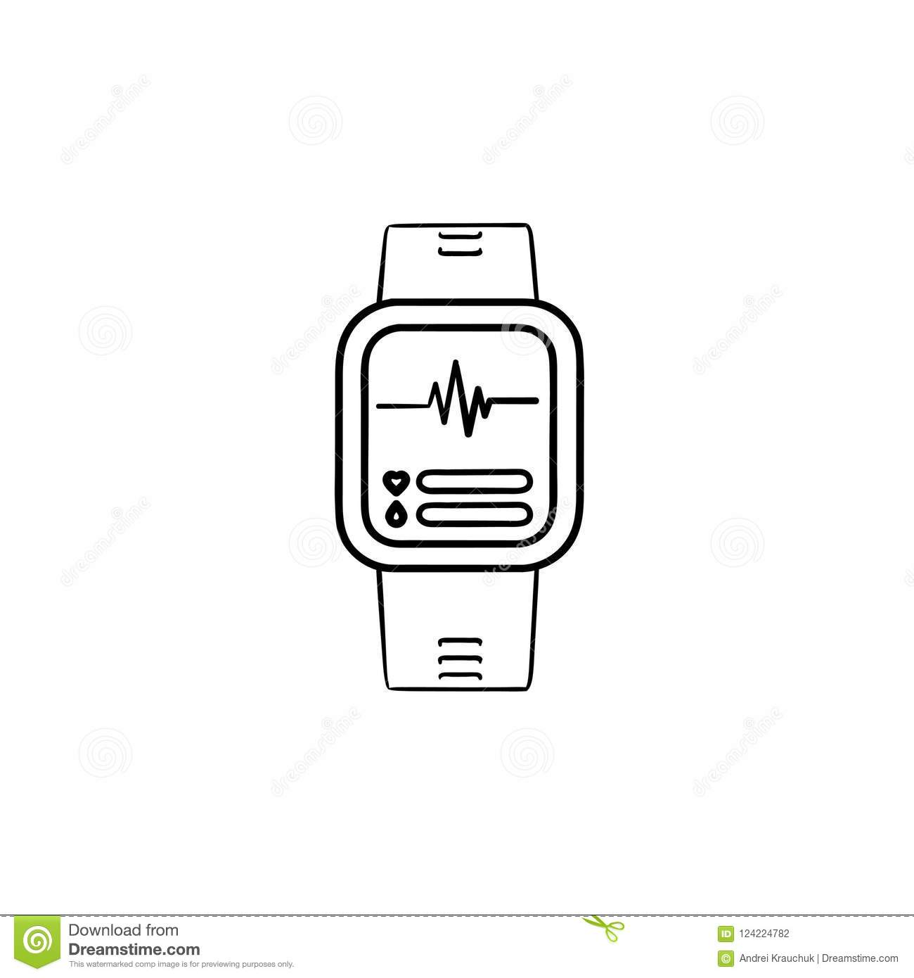 Smartwatch Hand Drawn Outline Doodle Icon. Stock Vector