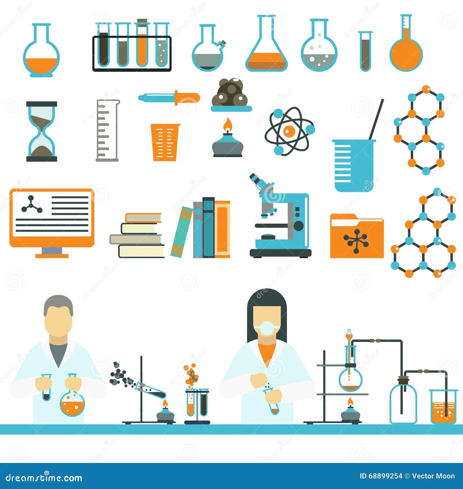 Simbolos Ciencia Do Laboratorio E Vetor Dos Icones Da