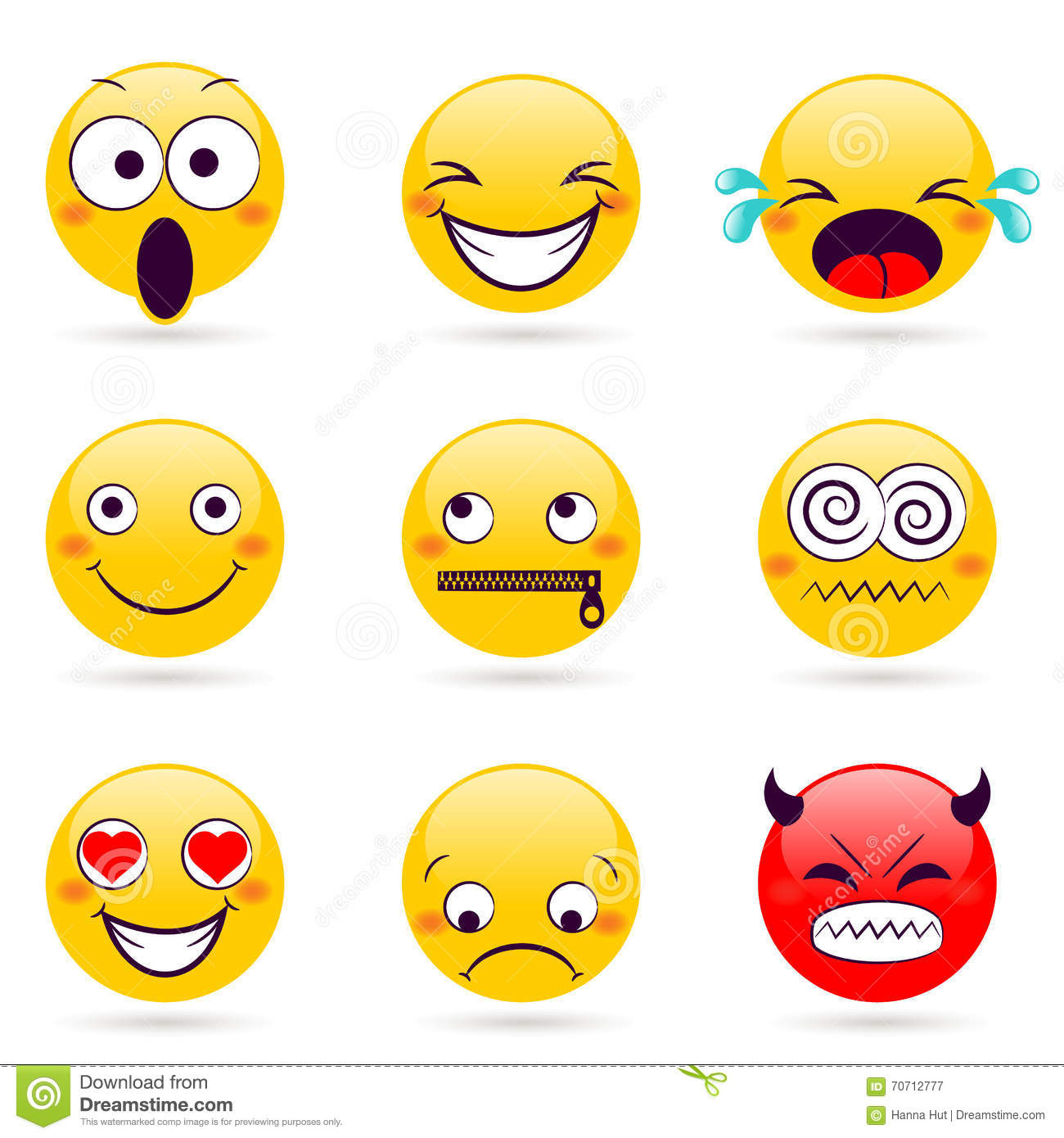 Smile Icon Smiley Faces Expressing Different Feelings