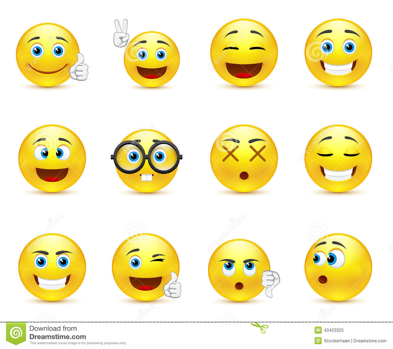 Smiley Faces Images Expressing Different Emotions Stock