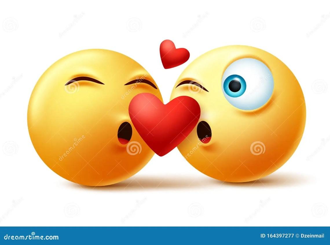 Download Smileys Emoticon Or Emoji Of Couple Kissing Faces Vector ...