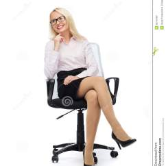 Office Sitting Chairs Wheelchair Donation Smiling Businesswoman Or Secretary In Stock Image