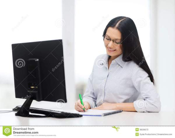 Smiling Businesswoman Student With Eyeglasses Stock