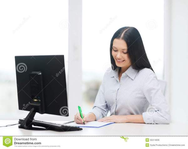 Smiling Businesswoman Student Studying Royalty Free