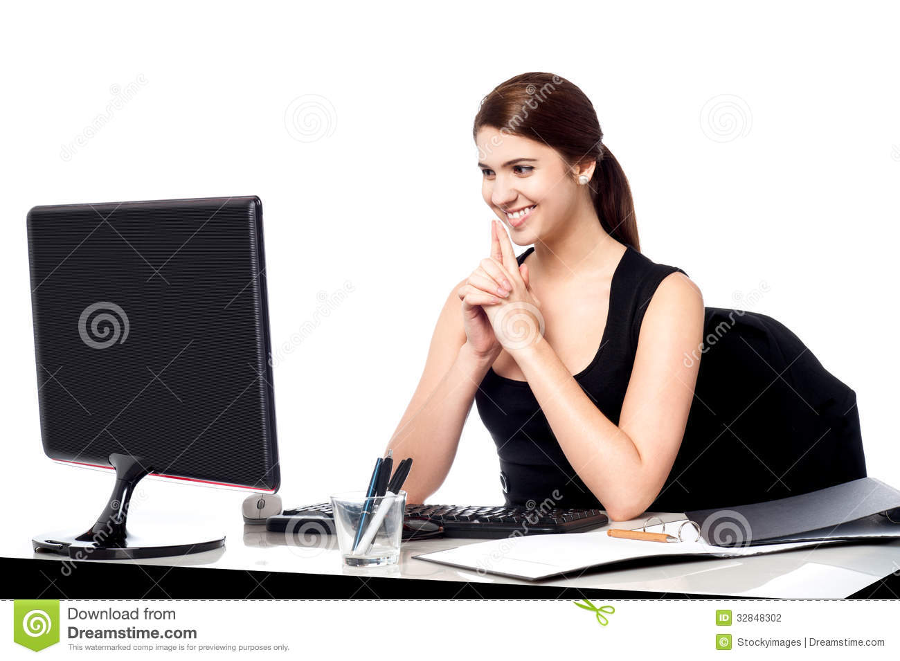 Smiling Corporate Lady In Her Office Stock Photography