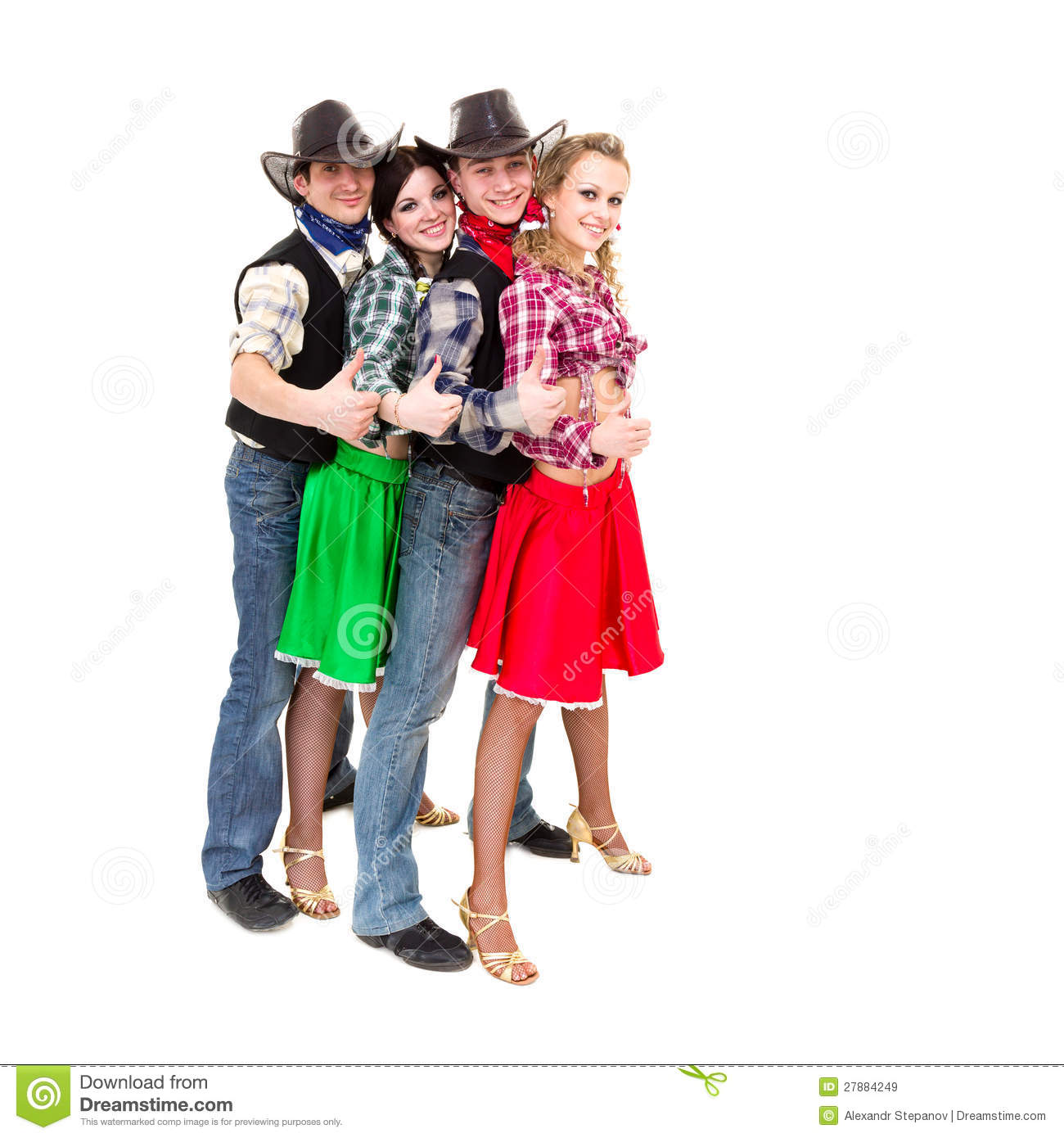 Smiling Cowboys And Cowgirls With Thumbs Up Stock Image