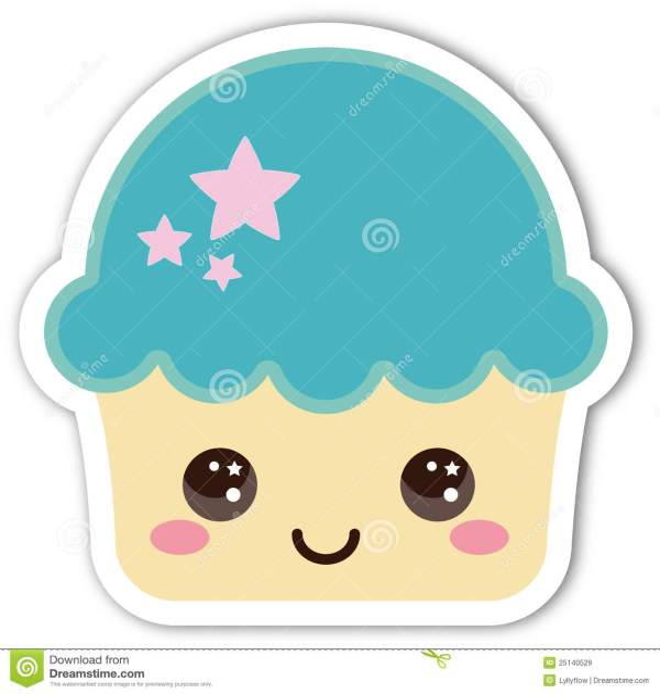 smiling cute cupcake stock illustration