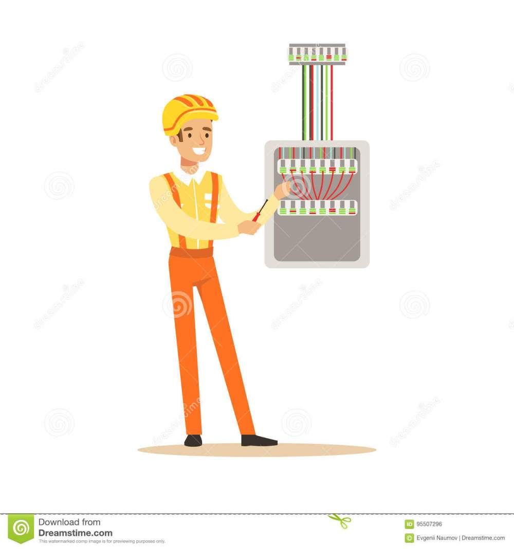 medium resolution of smiling electrician screwing equipment in fuse box electric man performing electrical works vector illustration
