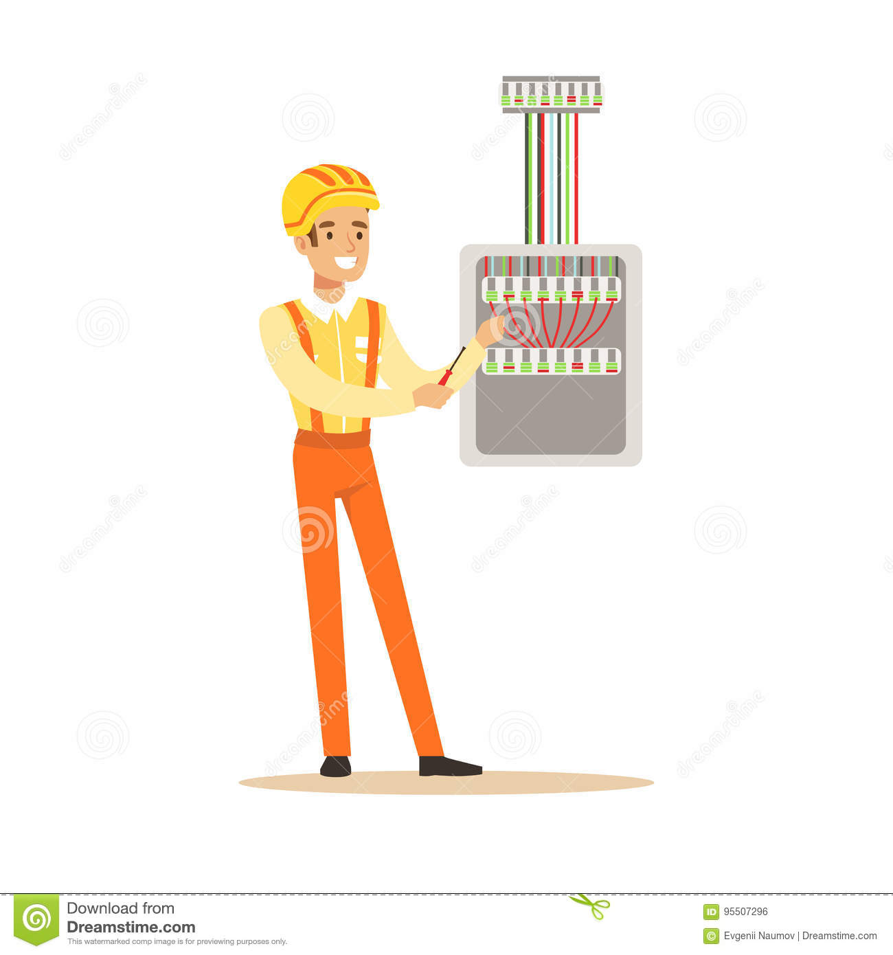 hight resolution of smiling electrician screwing equipment in fuse box electric man performing electrical works vector illustration
