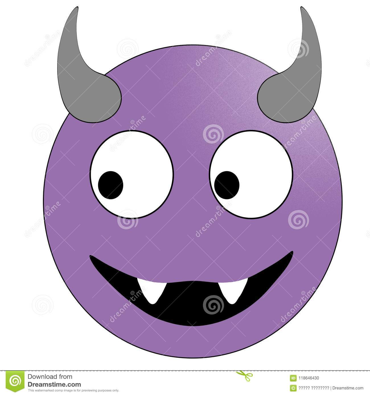 Smiling Face With Horns Purple Devil Emoticon Stock Illustration Illustration Of Facial Angry 118646430
