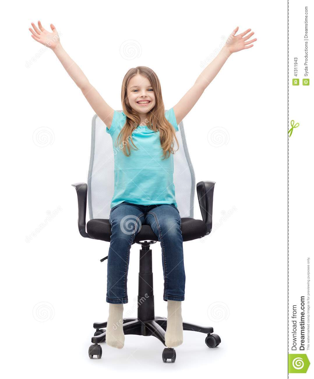 Girls Office Chair Smiling Little Girl Sitting In Big Office Chair Stock