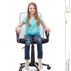 Little Girl Chairs Ikea Tub Chair Covers Ebay Smiling Sitting In Big Office Stock