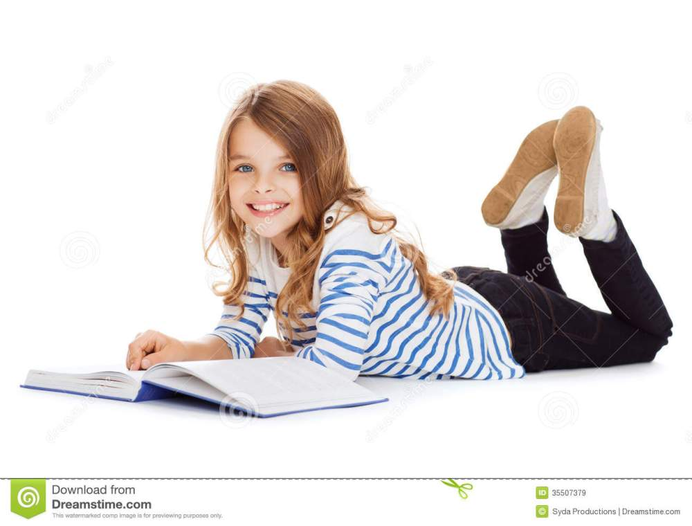 medium resolution of smiling little student girl lying on the floor royalty free stock photo cartoondealer com 35507379