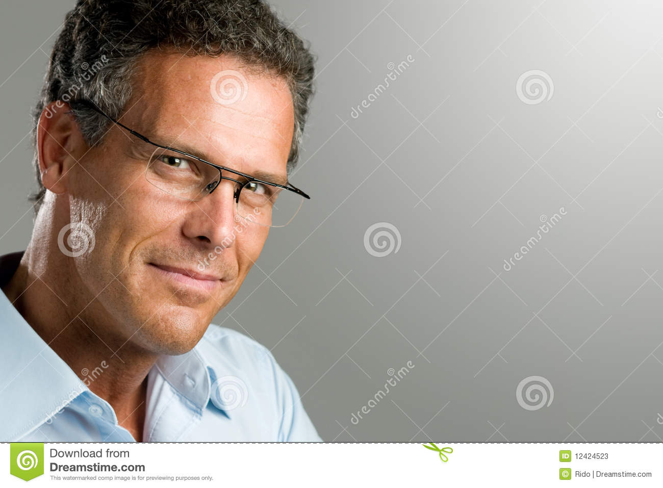 Smiling Man With Glasses Stock Photos Image 12424523