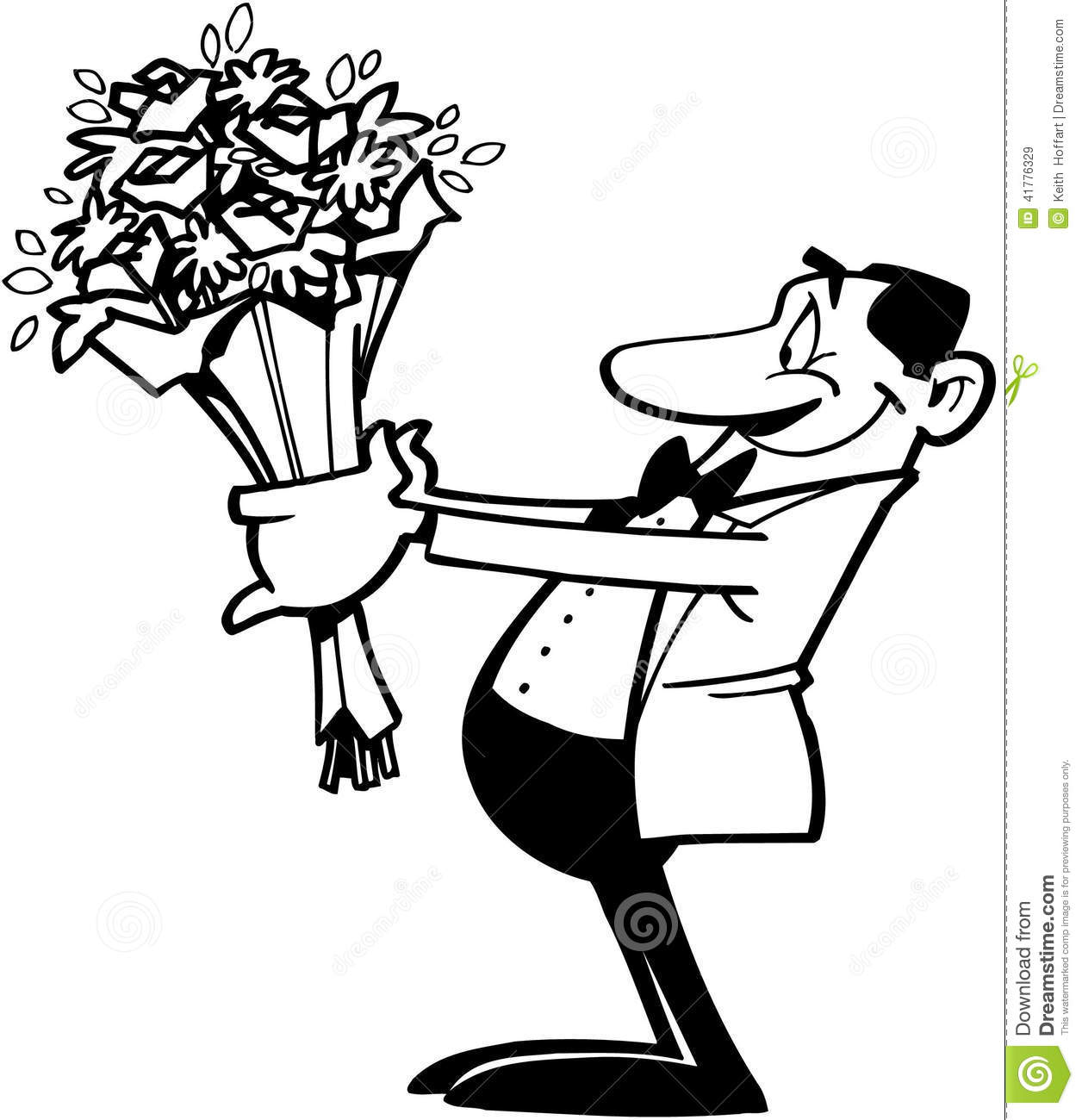 Smiling Man Holding Flowers Cartoon Vector Clipart Stock