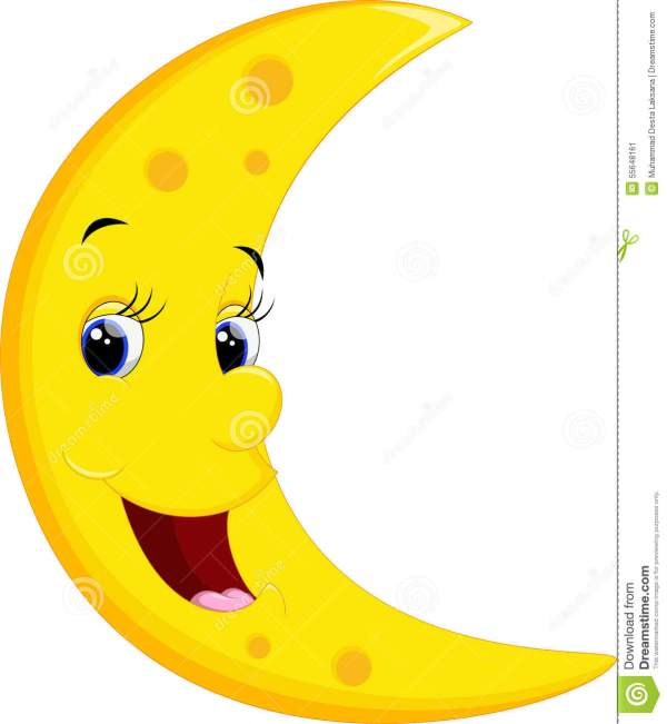 Smiling Moon Cartoon Stock Illustration. Of Colorful - 55648161