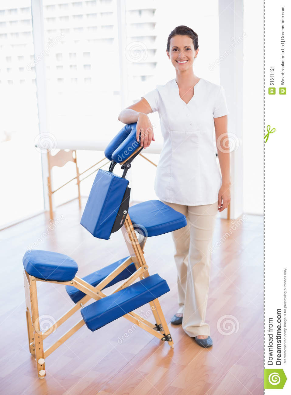 Massage Therapist Chair Smiling Therapist Standing With Massage Chair Stock Image Image