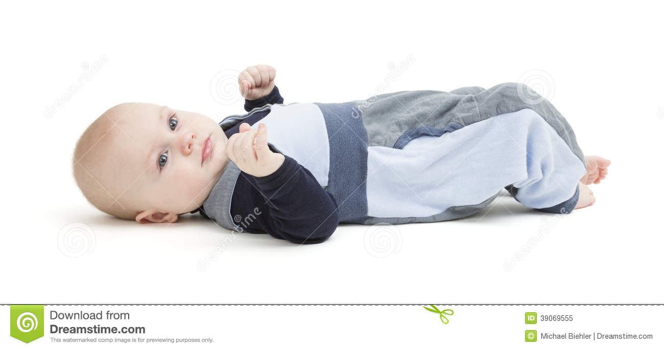 Smiling Toddler Laying On His Back Stock Photo  Image