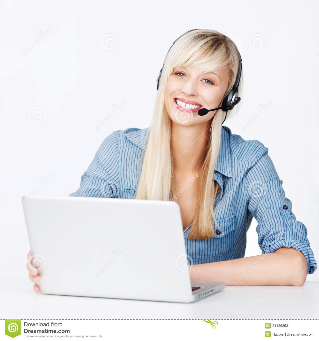 Smiling Woman With A Notebook And Headset Stock Image