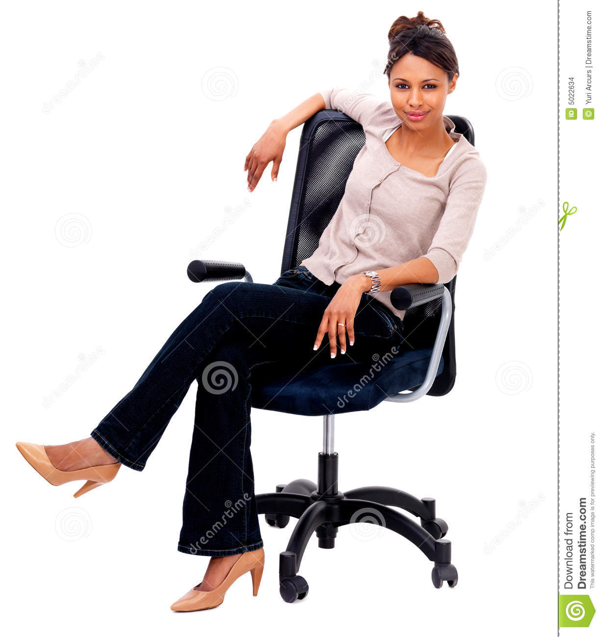 woman sitting in chair massage portable stock images smiling a image 5022634