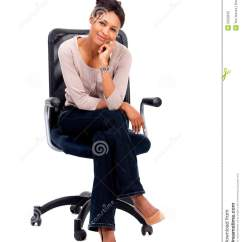 Woman Sitting In Chair Good Desk For Gaming Royalty Free Stock Photo Smiling A
