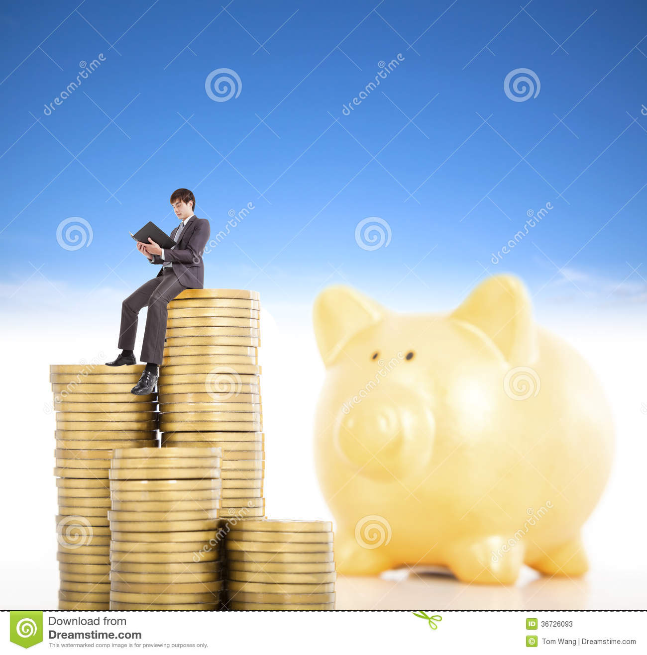 Smiling Young Man Counting Coin In Piggy Bank Stock Image