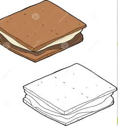 hand drawn smore snack over isolated background stock illustration [ 1382 x 1300 Pixel ]