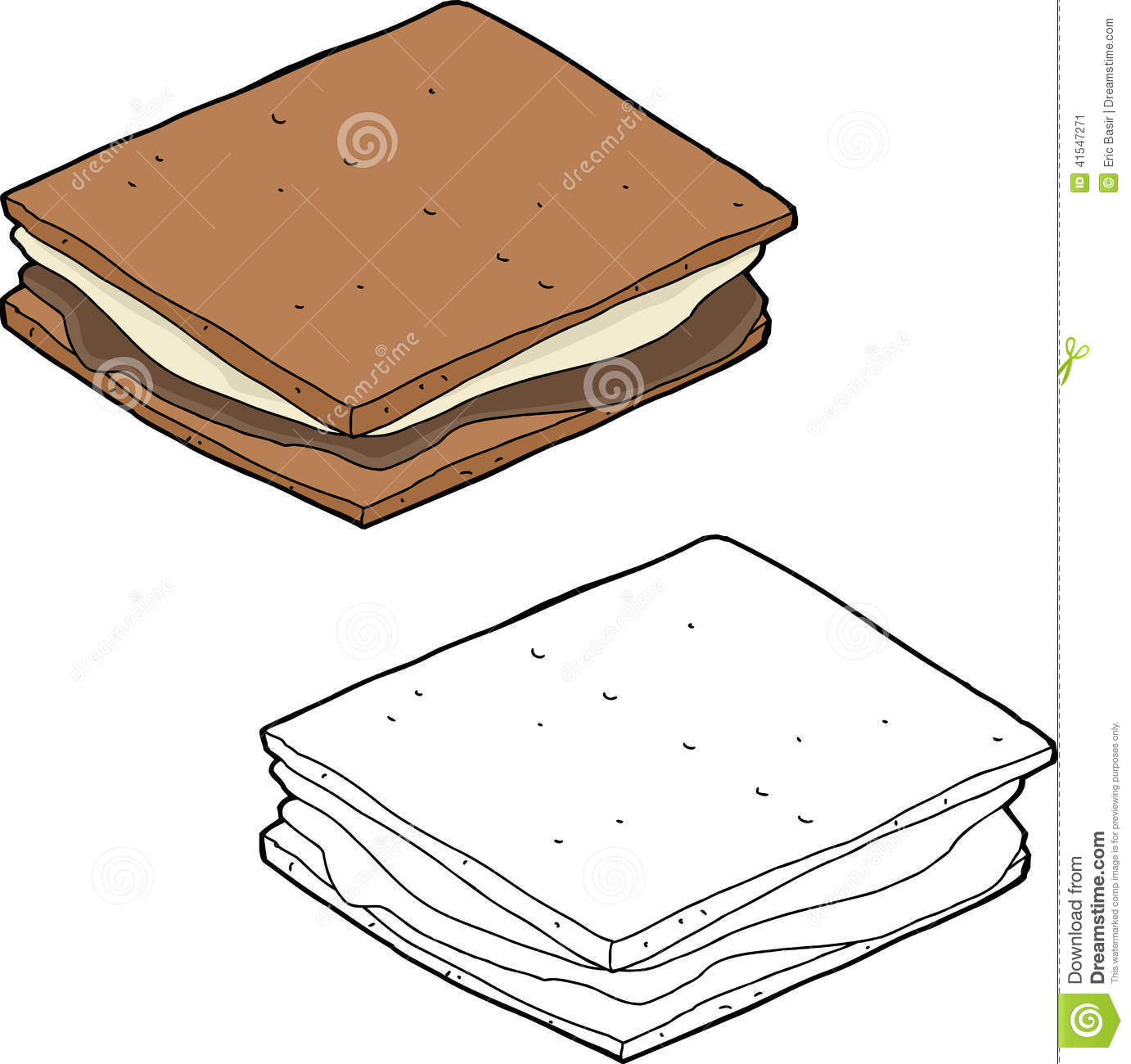 hight resolution of hand drawn smore snack over isolated background stock illustration