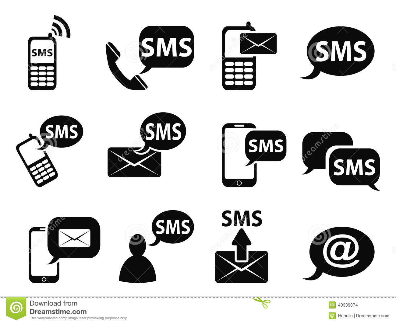 Sms Icons Set Stock Vector