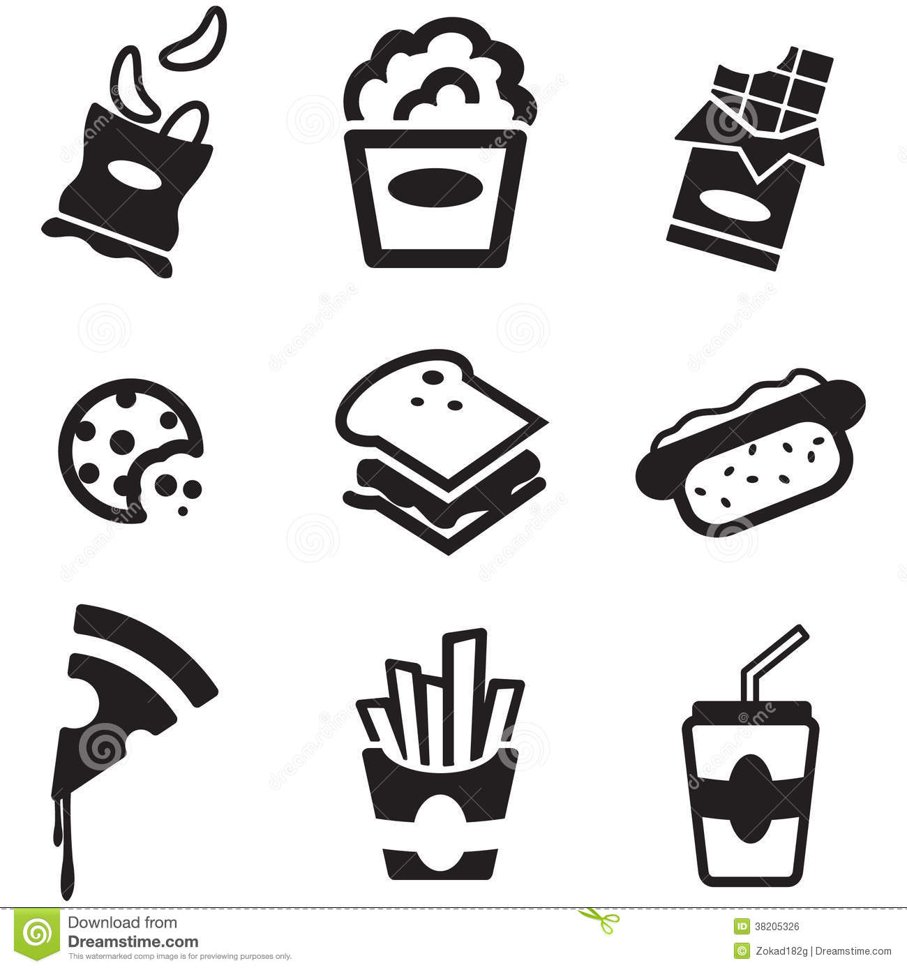 Snack Icons Stock Vector Illustration Of Cheeseburger