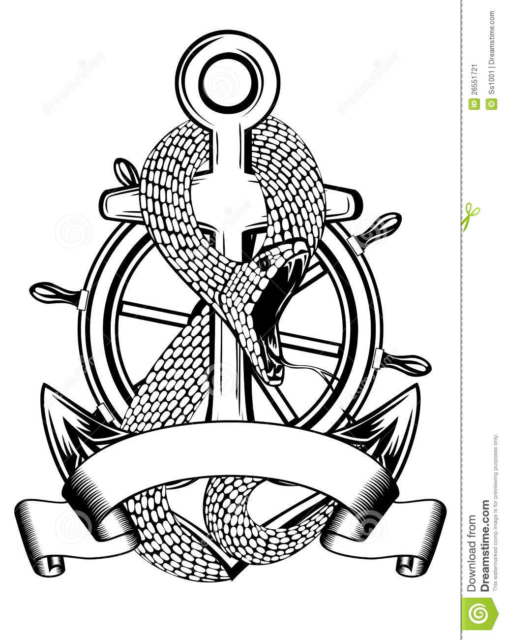 Snake Anchor And Steering Wheel Stock Vector