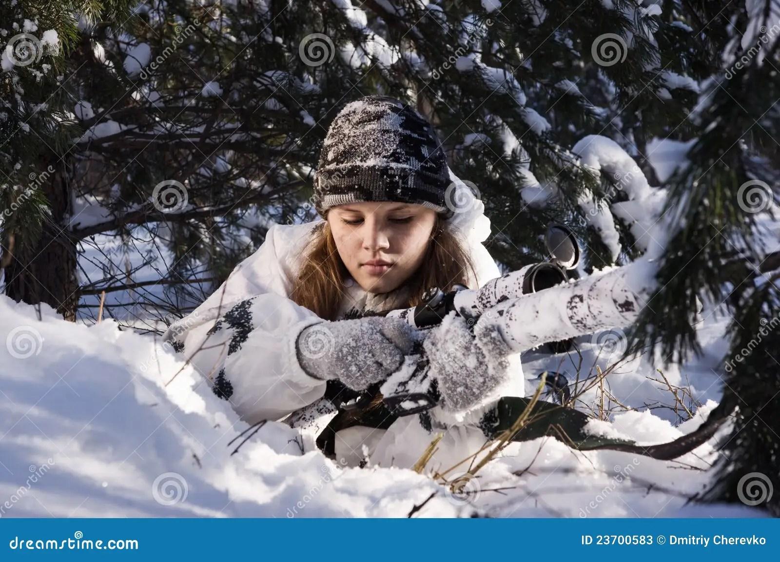 Beautiful Girl With Gun Wallpaper Sniper Girl Stock Photos Image 23700583