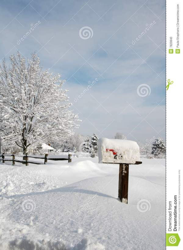 snow covered mailbox stock