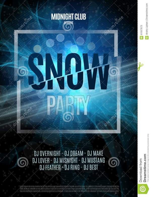 Snow Party Flyer. Abstract Winter Poster Background
