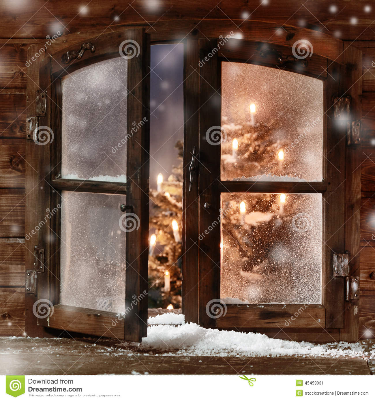 Snow On Vintage Wooden Christmas Window Pane Stock Image