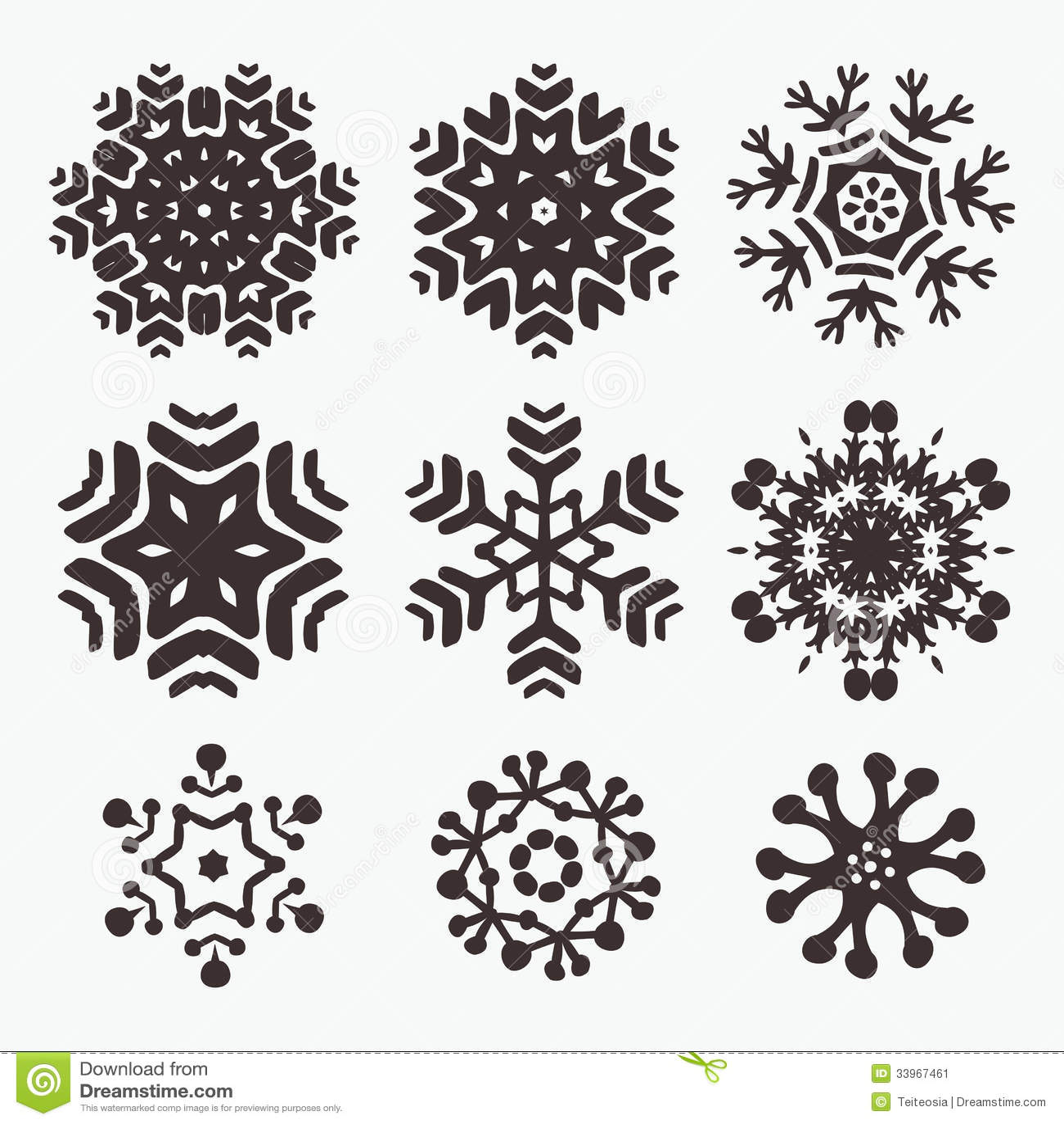 Snowflake Set Stock Vector Image Of Shape Holiday