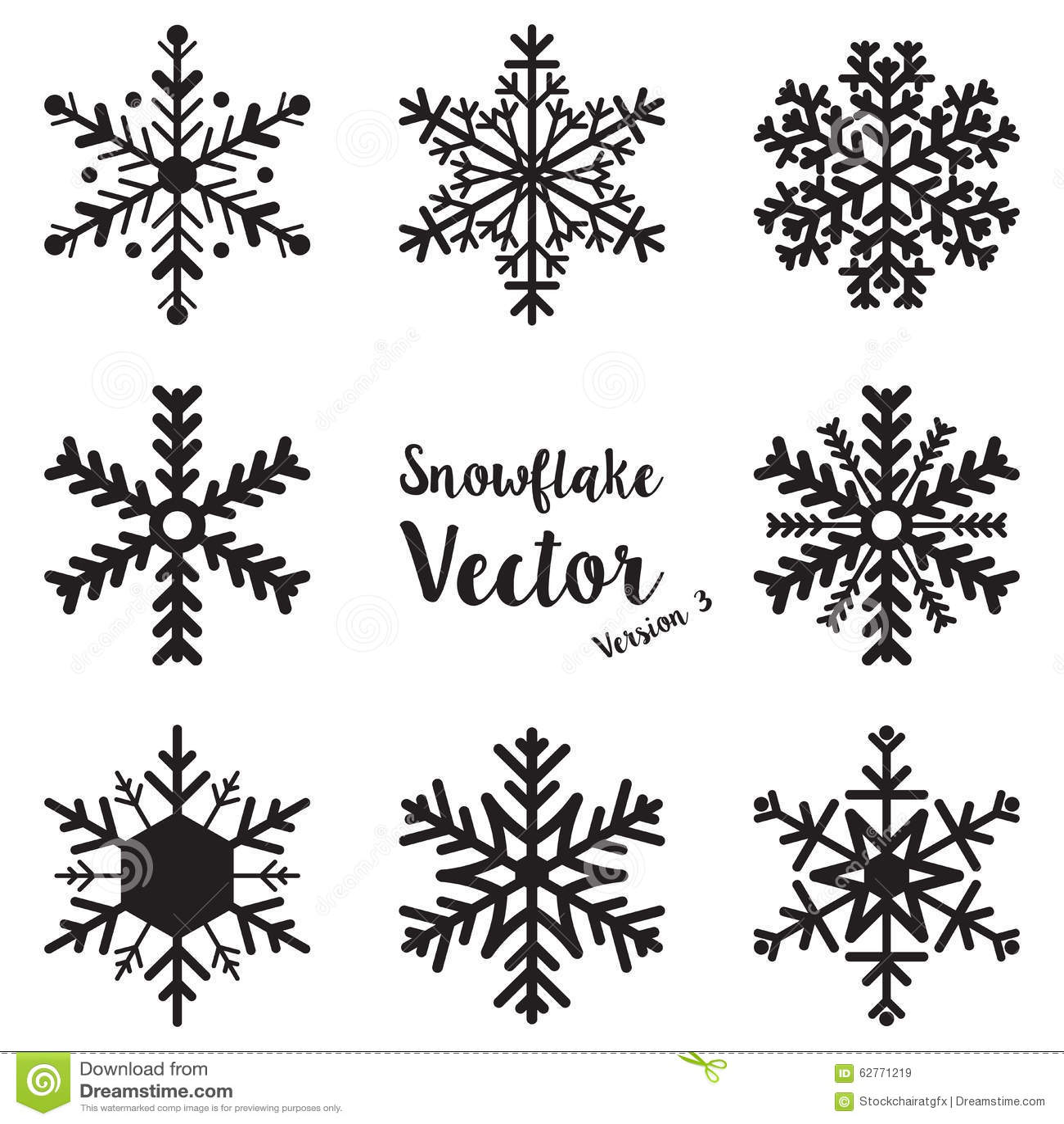 Snowflake Winter Set Vector Stock Vector